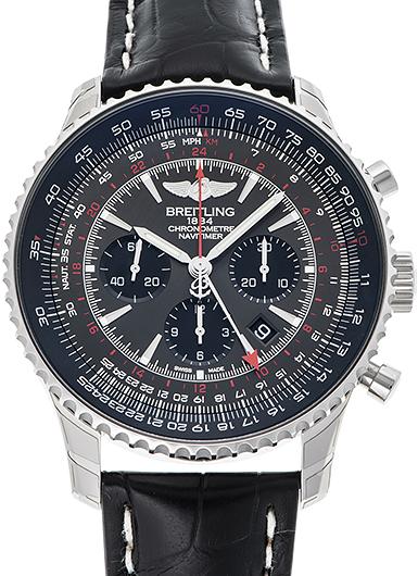 ナビタイマー GMT A044F73WBD ブラックレザーベルト
