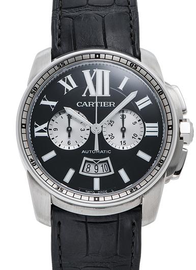 カルティエ カリブル ドゥ カルティエ クロノグラフ W7100060 ブラック/シルバー 新品 44235